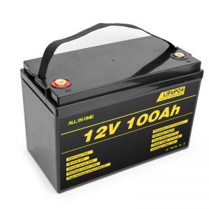 LiFePO4 Bateria pakaĵo litia ĉelo 12v 100ah profunda ciklo-baterio