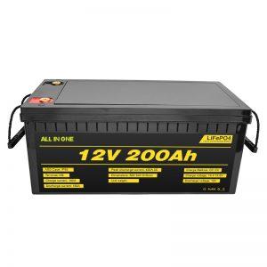 Agordebla elektra aŭto 12V Lifepo4-baterio 12.8v 200ah kun 2000-cikla vivdaŭra baterio