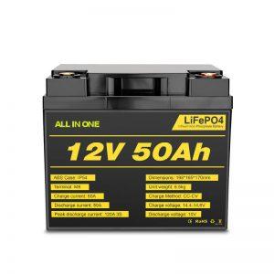 12V 50Ah Ŝarĝebla Profunda Ciklo Lifepo4-Baterio por Elektra Potenca Sistemo