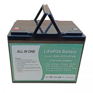 Reŝargebla 896Wh lifepo4-baterio 12V 70Ah por elektra vechile