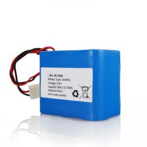 6.4V 12Ah LiFePO4 Reŝargas Lition 26650 32650 Baterio kun Konektilo por Suna Lumo